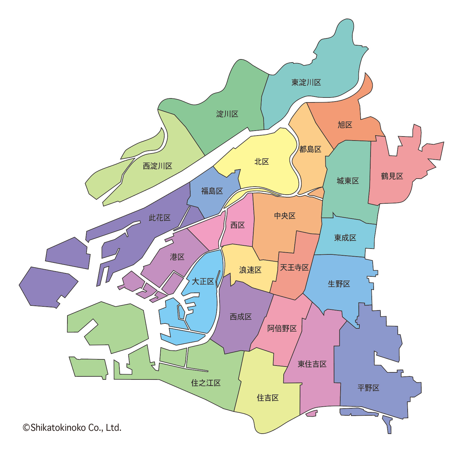 大阪市:24区のエリアマップ